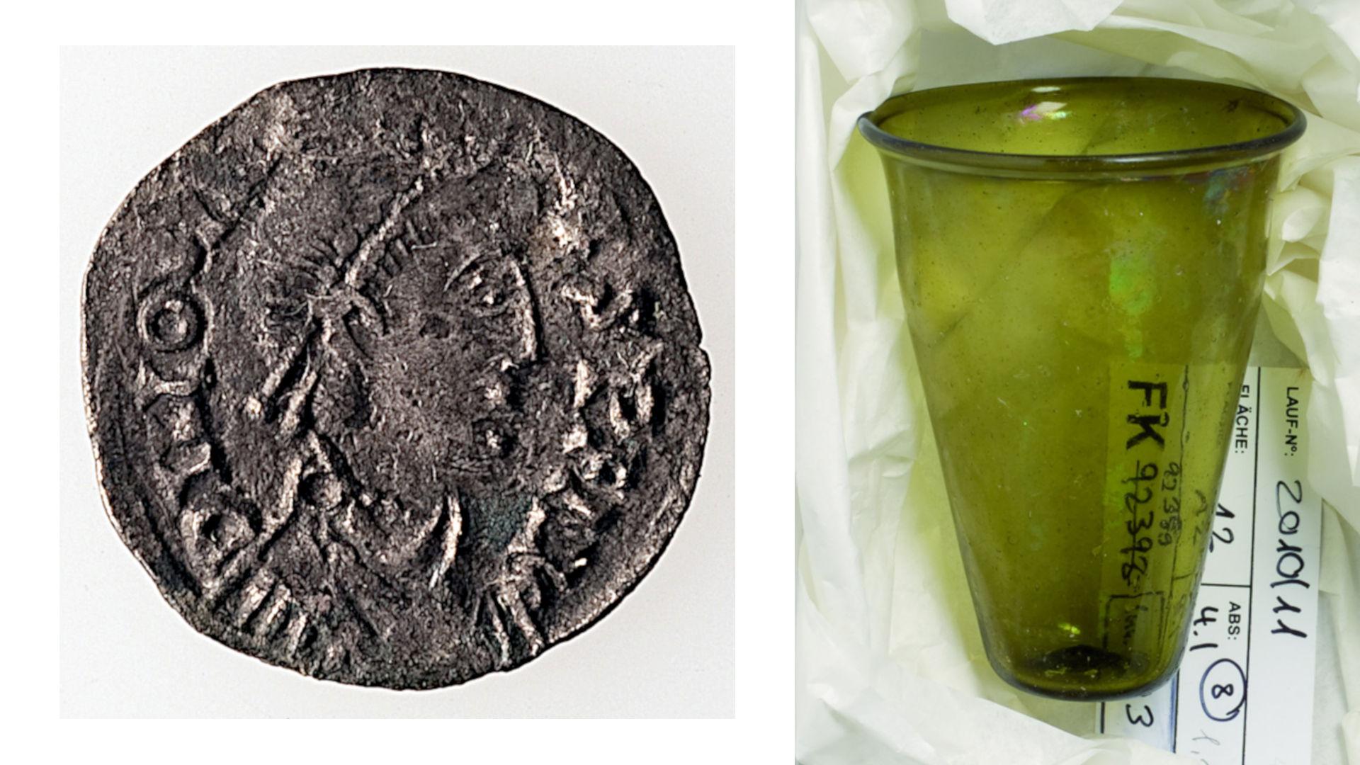 Silbermünze des Iovinus und Glasbecher. Photo credits: © Archäologische Bodenforschung Basel-Stadt.