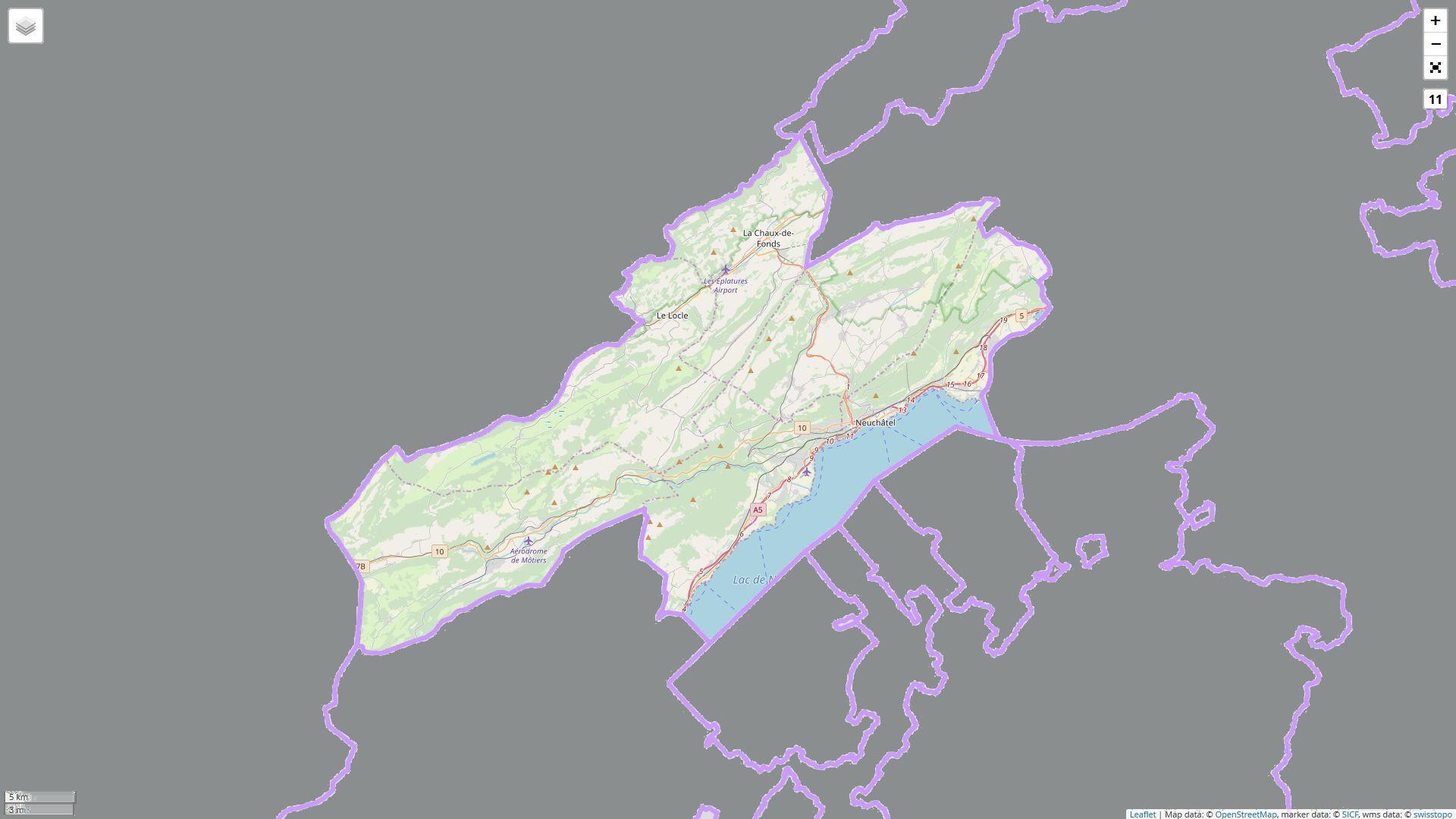 Kartenaussschnitt des Kanton Neuchâtel