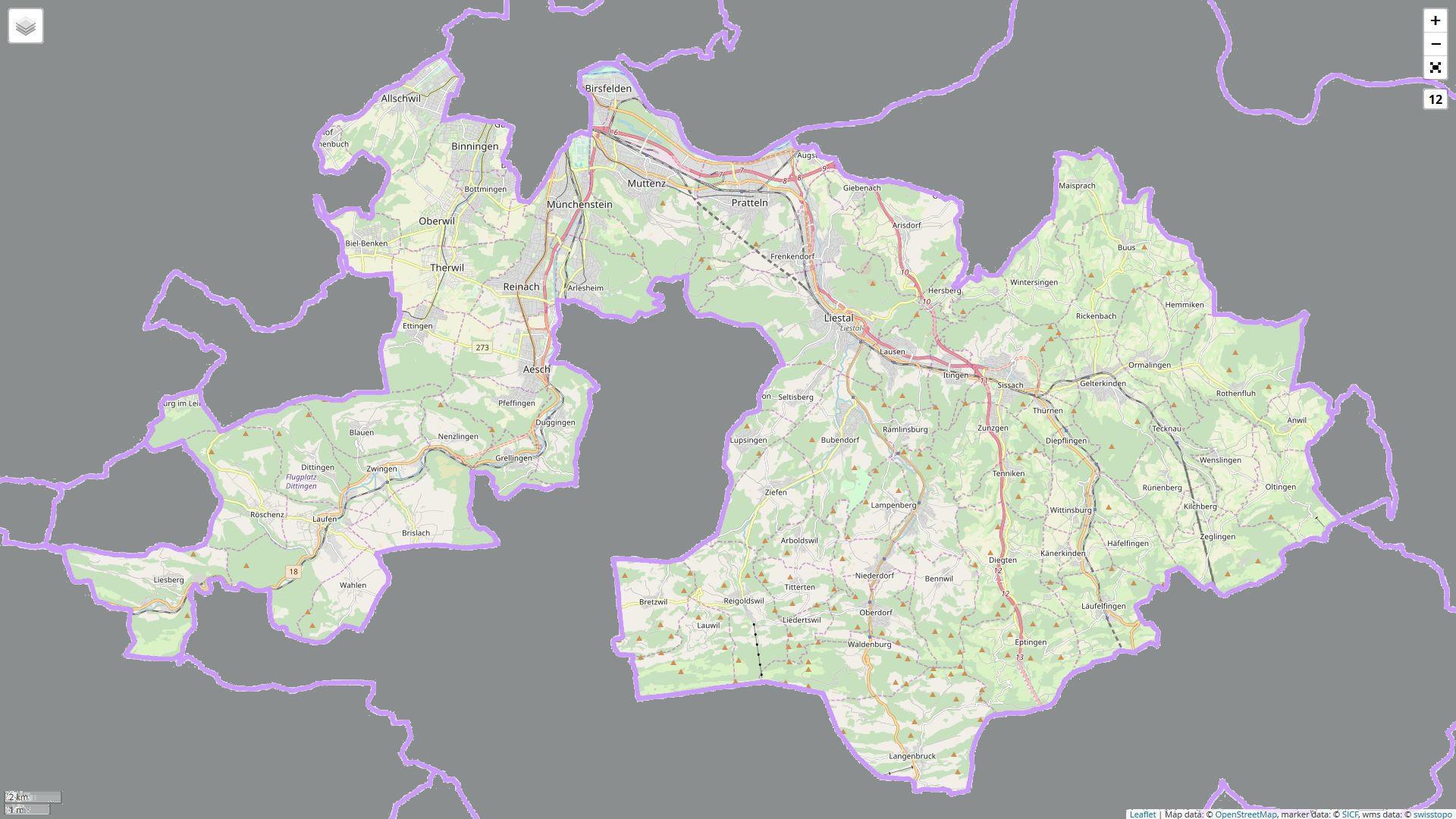 Kartenausschnitt des Kanton Basel-Landschaft