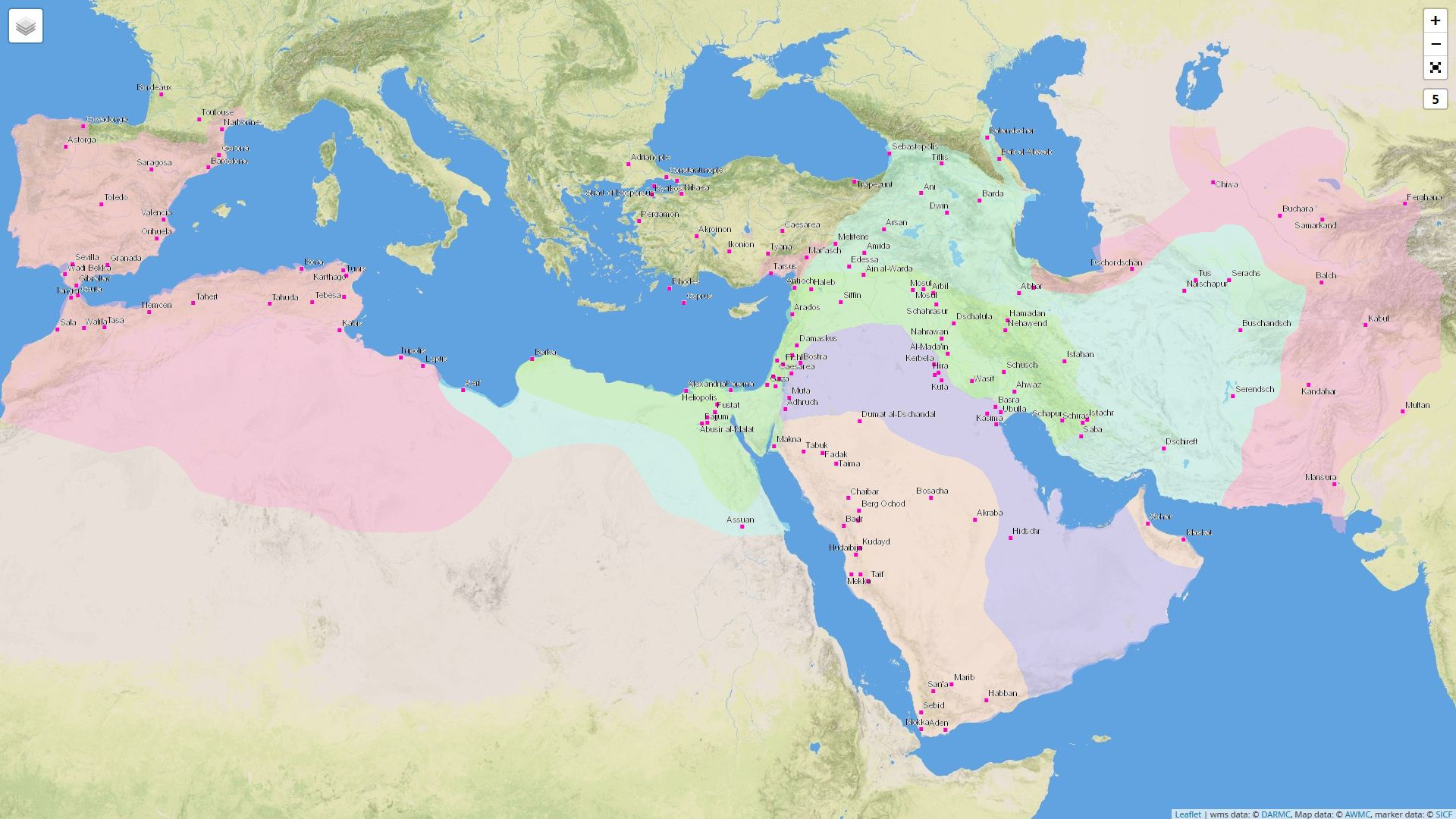 Digital Atlas of Roman and Medieval Civilizations: Karte mit islamischen Gebieten und Städten