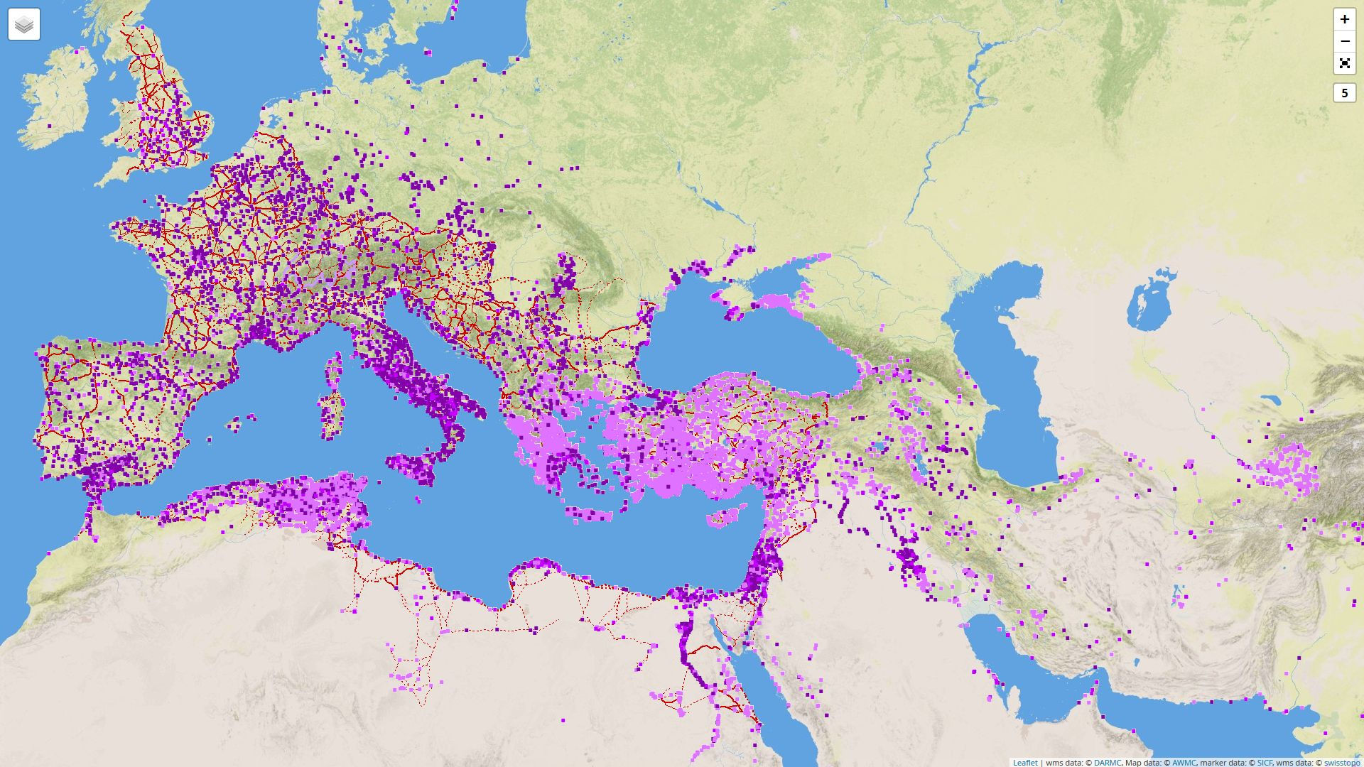 Digital Atlas of Roman and Medieval Civilizations: Karte mit römischen Strassen und Städten