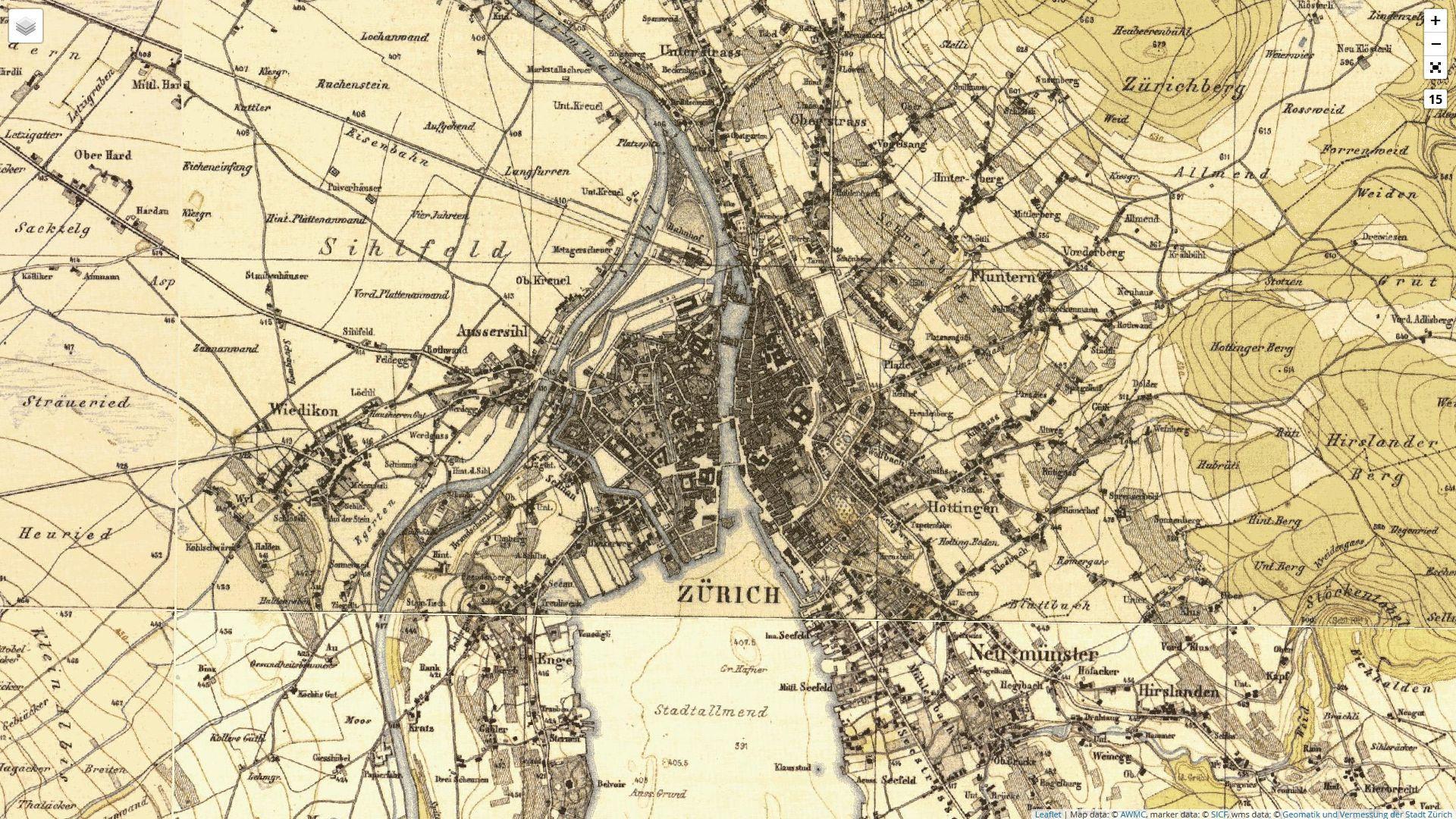 Zürich, historische Kantonskarte des Johannes Wild von 1843–1850