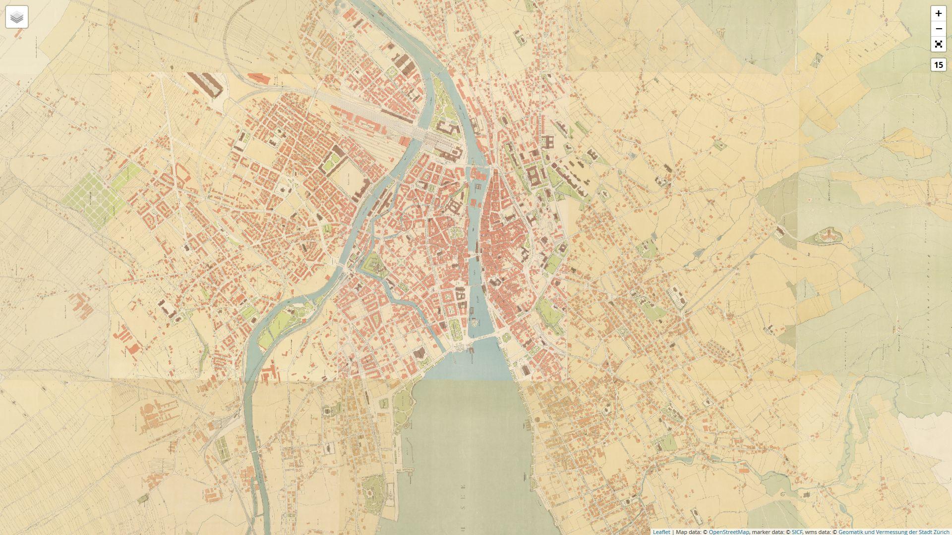 Historischer Stadtplan von Zürich von 1900