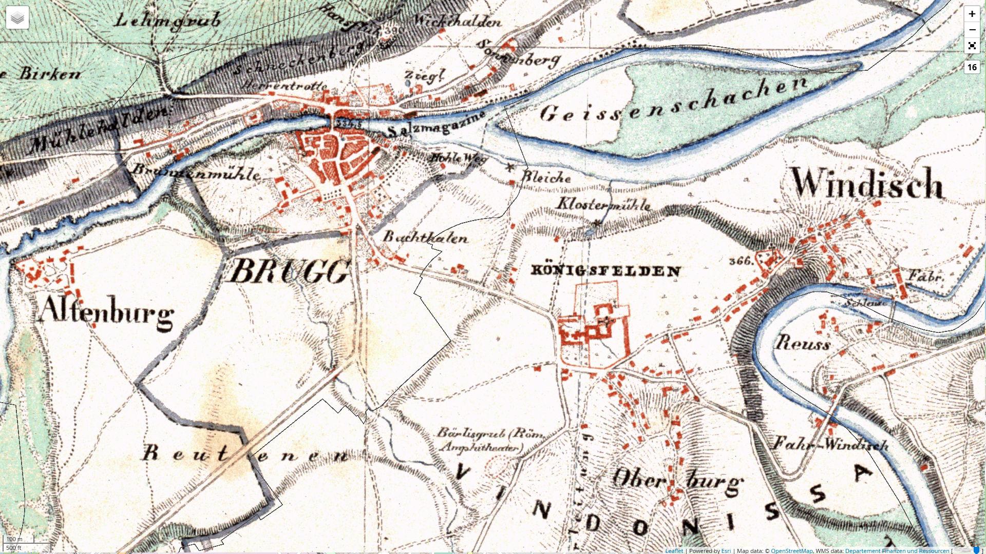 Kantonskarte des Ernst Heinrich Michaelis (1837–1843)