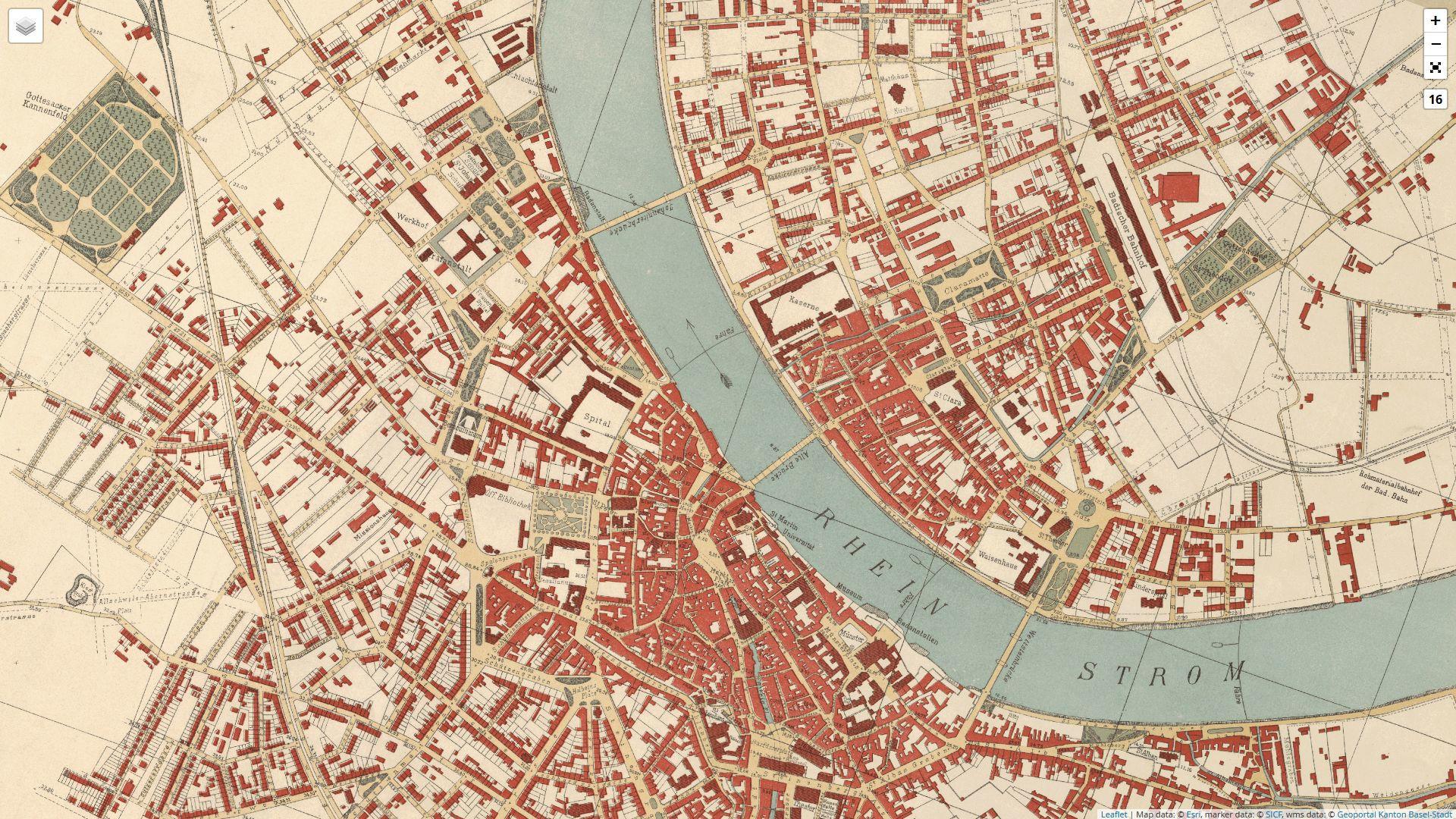 Geoportal Kanton Basel-Stadt: Übersichtsplan von 1896