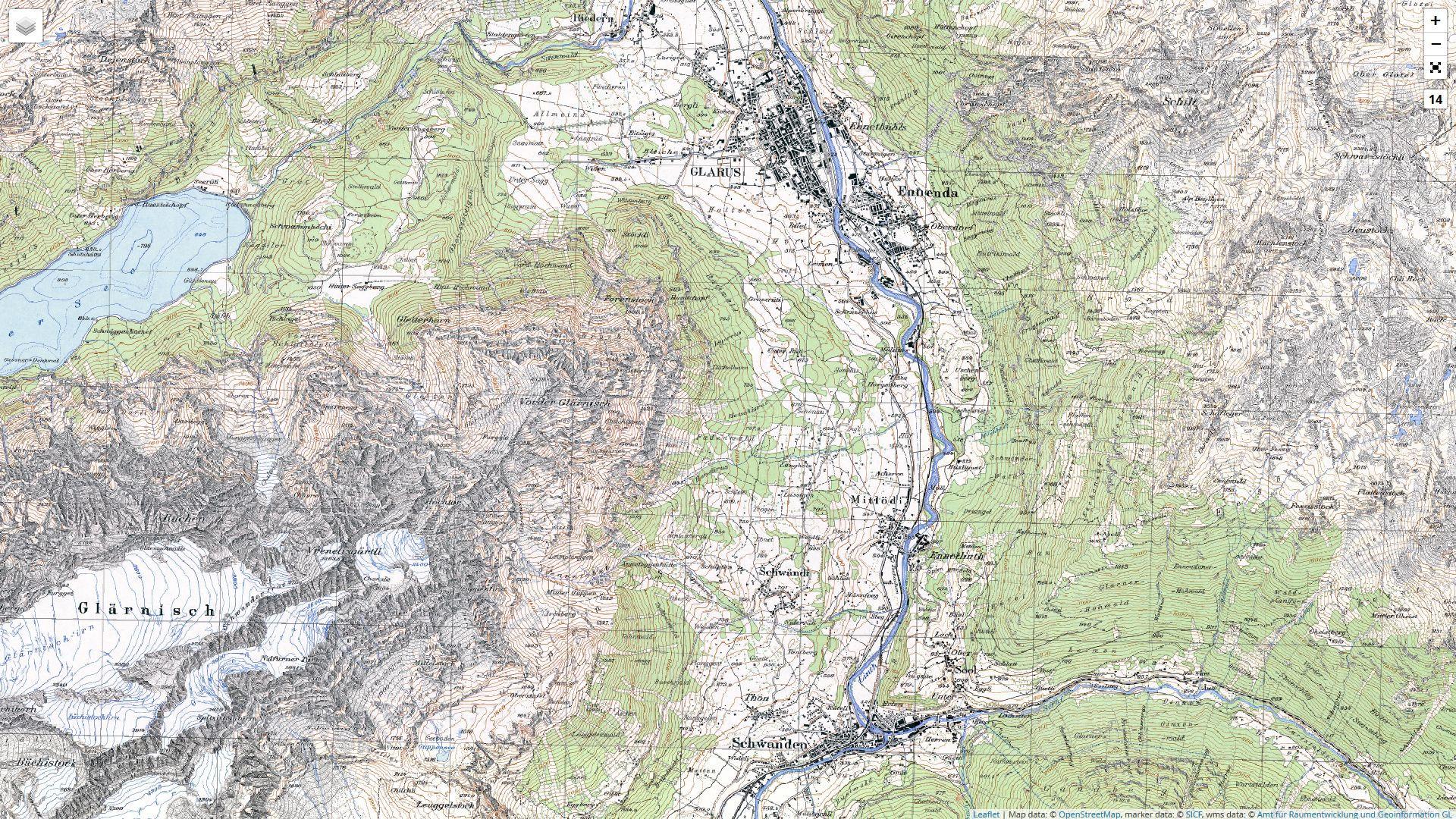Amt für Raumentwicklung und Geoinformation des Kantons Glarus: Landeskarte 25