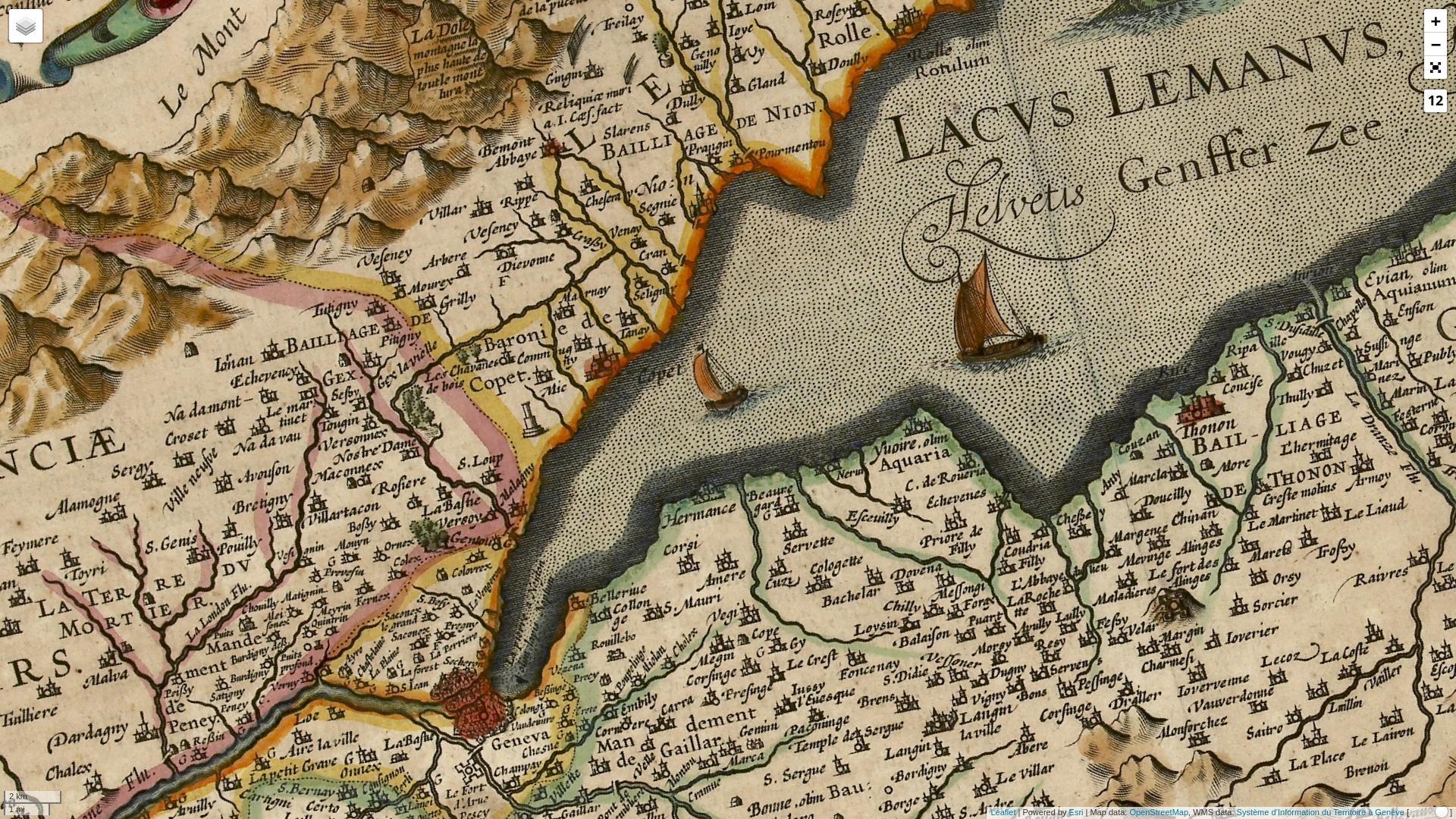 Kantonskarte des Josse II de Hondt (1630)