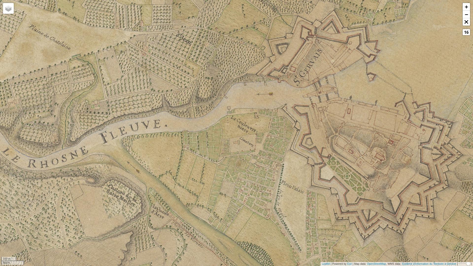 Karte des Jacques-Barthélemy Micheli du Crest (1730)