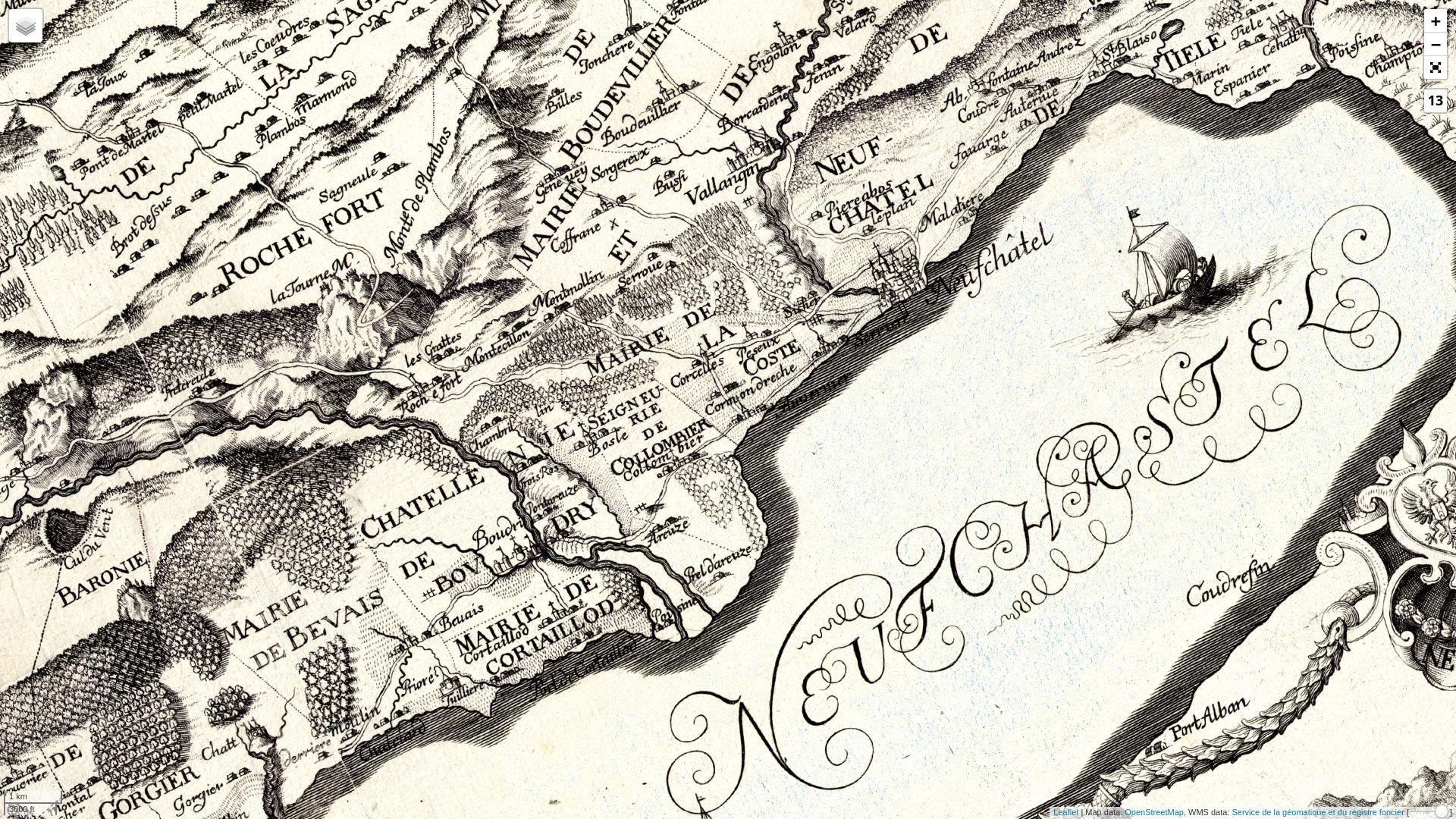 Kantonskarte des Nicolai Berolini (1707)