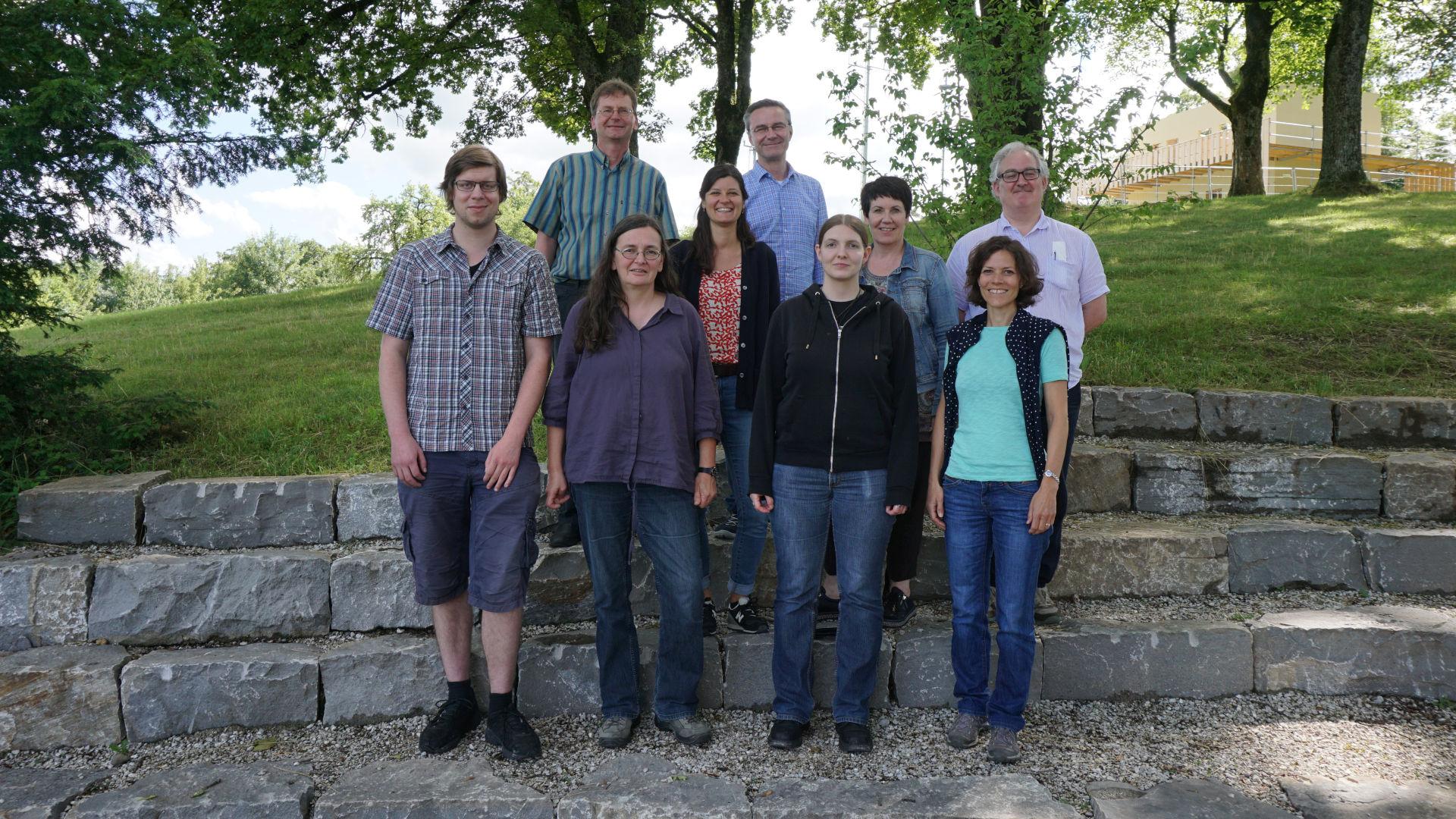 Photo de l'équipe ITMS lors d'un workshop à Berne (septembre 2017). De gauche à droite: Rahel C. Ackermann, Michael Matzke, Monika von Grünigen, Michael Nick, André Barmasse, Anne-Francine Auberson, Markus Peter (président de la commission de l'ITMS).
