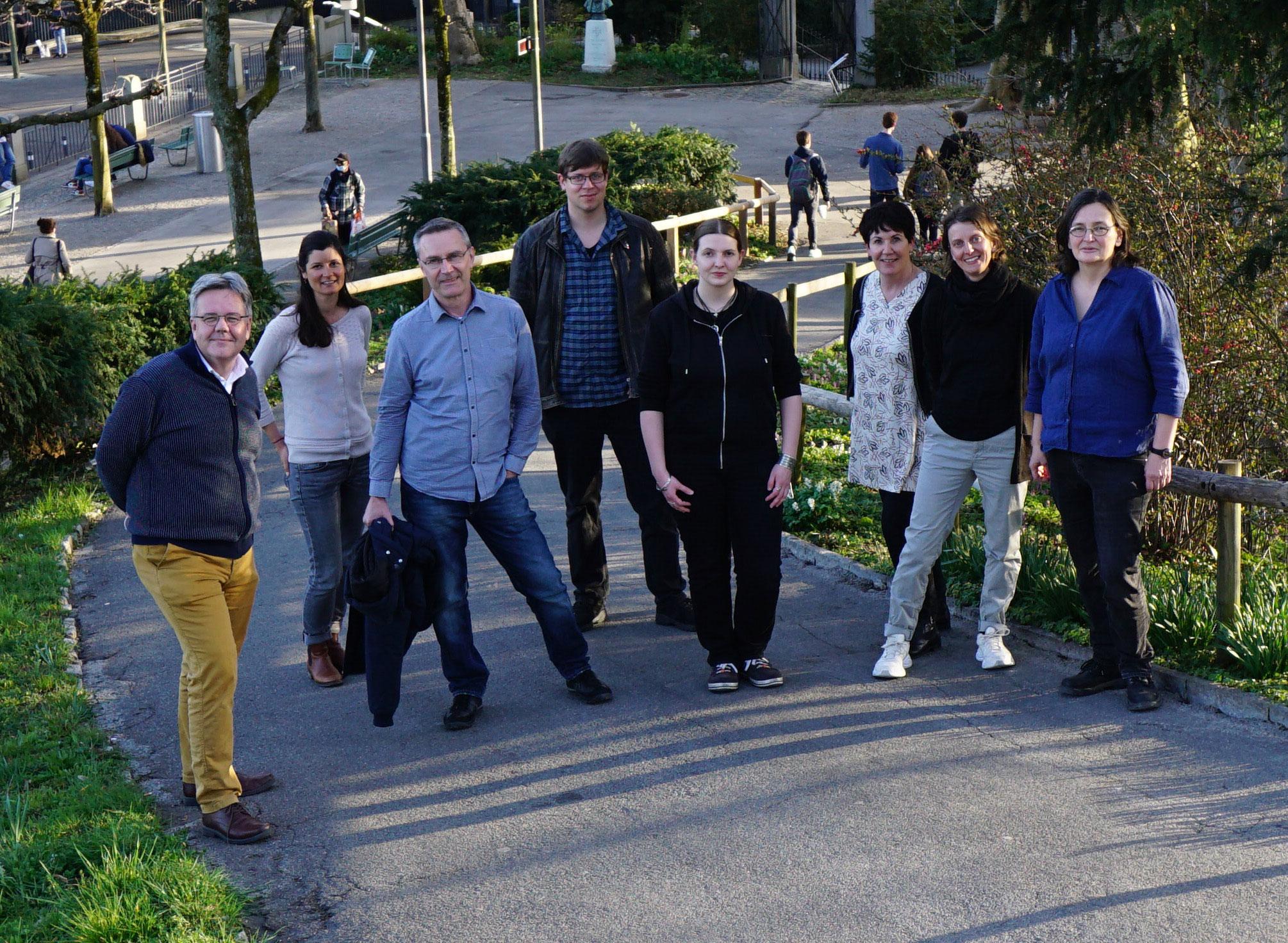 Photo de l'équipe ITMS, Berne (mars 2021). De gauche à droite: Lorenzo Fedel, Fanny Puthod, Michael Nick, Jonas von Felten, Margareth Warburton, Anne-Francine Auberson, Sonya Luyet, Rahel C. Ackermann. Image: © 2021 ITMS